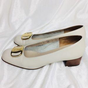 Salvatore Ferragamo Boutique Leather Heel Pumps 7B
